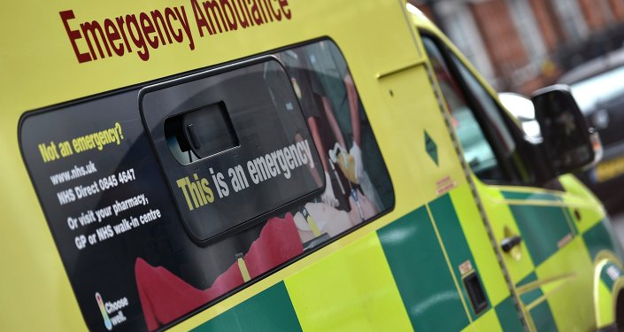 A National Health Service ambulance is seen in central London