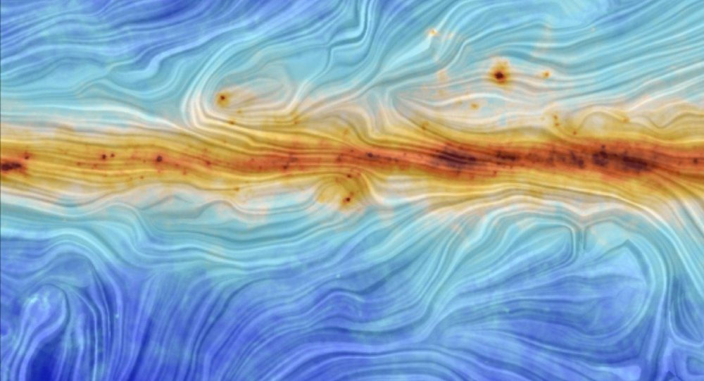 The image portrays the interaction between interstellar dust in the Milky Way and the structure of our Galaxy's magnetic field