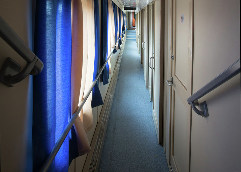 Interior of Tver Carriage Works' new bilevel design.