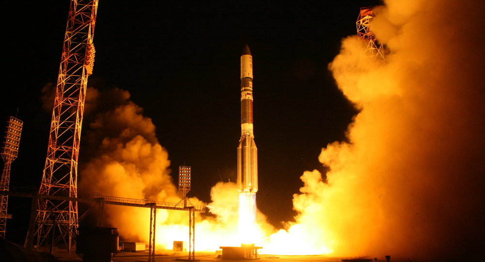 The Proton-M rocket carrying the Astra 2E communication satellite blasts off from the Baikonur cosmodrome
