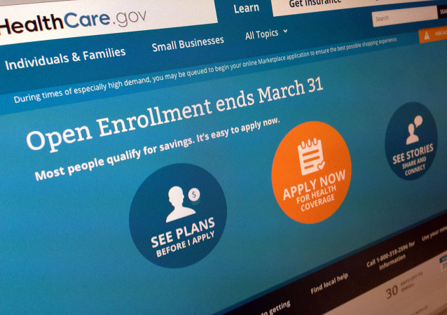 "This March 1, 2014 file photo shows part of the website for HealthCare.gov, seen in Washington. President Barack Obama's health care law has become a tale of two Americas. States that fully embraced the law's coverage expansion are experiencing a significant drop in the share of their residents who remain uninsured, according to an extensive new poll released Tuesday. States whose leaders still object to ""Obamacare"" are seeing much less change."