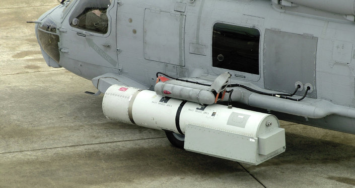 The Airborne Laser Mine Detection System, mounted on the MH-60S helicopter, to identify mines in the sea using laser technology.