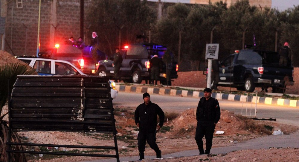 Jordanian security stand guard outside Swaqa prison, after the executions of Sajida al-Rishawi and Ziad al-Karbouly, two Iraqis linked to al-Qaida, about 50 miles (80 kilometers) south of the Jordan's capital, Amman, Wednesday, Feb. 4, 2015.