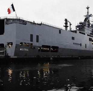 French Mistral-class amphibious assault ship moored near Lieutenant Schmidt Embankment in St. Petersburg