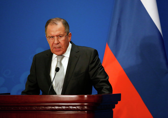 Russian Foreign Minister Sergei Lavrov attends a press conference after the thirteenth meeting of the Foreign Ministers of China, Russia and India, in Beijing