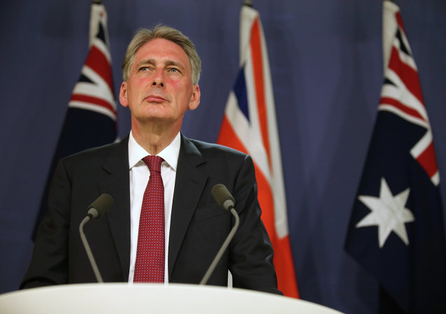 British Foreign Secretary Philip Hammond speaks at a press conference ahead of the Australia-UK Ministerial Meeting (AUKMIN) in Sydney, Sunday, Feb. 1, 2015