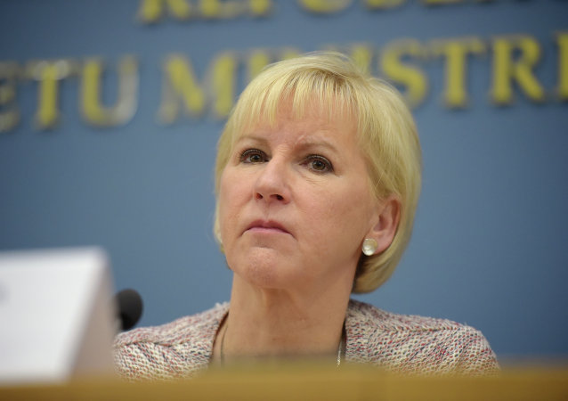 Swedish Foreign minister Margot Wallstrom attends a joint press conference with her Latvian counterpart after their meeting at the Foreign Ministry in Riga on January 23, 2015