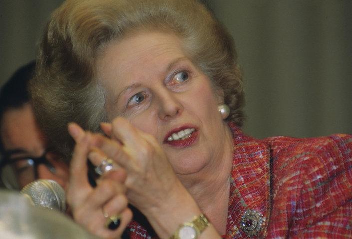 Former British Prime Minister Margaret Thatcher in 1991