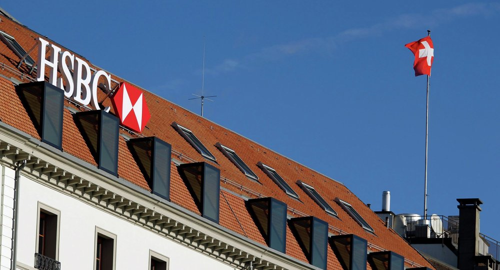 A HSBC logo is pictured at a Swiss branch of the bank, in Geneva February 9, 2015