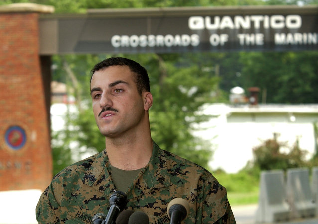Marine Cpl. Wassef Ali Hassoun makes a statement to the press outside Quantico Marine Base in Quantico, Virginia, in July 2004.