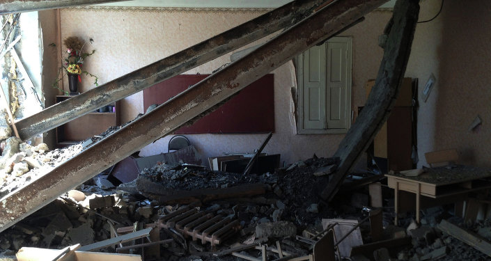 School No.152 after bombardment in the town of Mospino. Donetsk region, Ukraine
