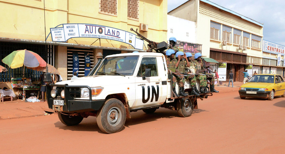 UN peacekeeping soldiers patrol on December 09, 2014 in Bangui, CAR