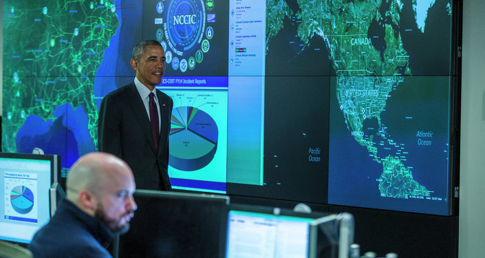 President Barack Obama prepares to speak at the National Cybersecurity and Communications Integration Center.