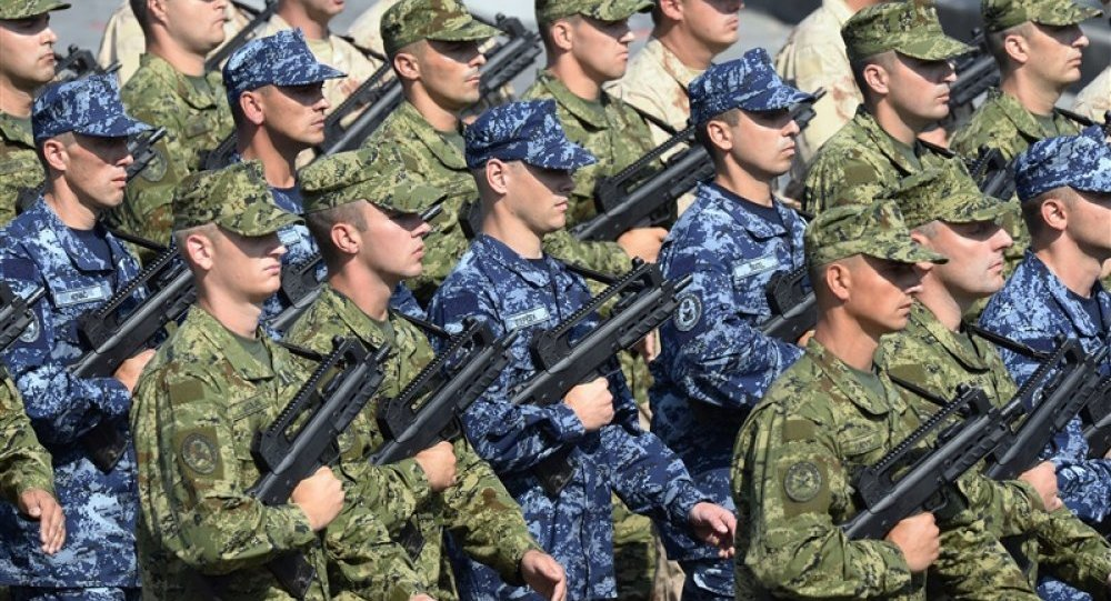 Croatian army soldiers are lined up during the annual military parade in Karlovac, some 50 kilometers from capital Zagreb