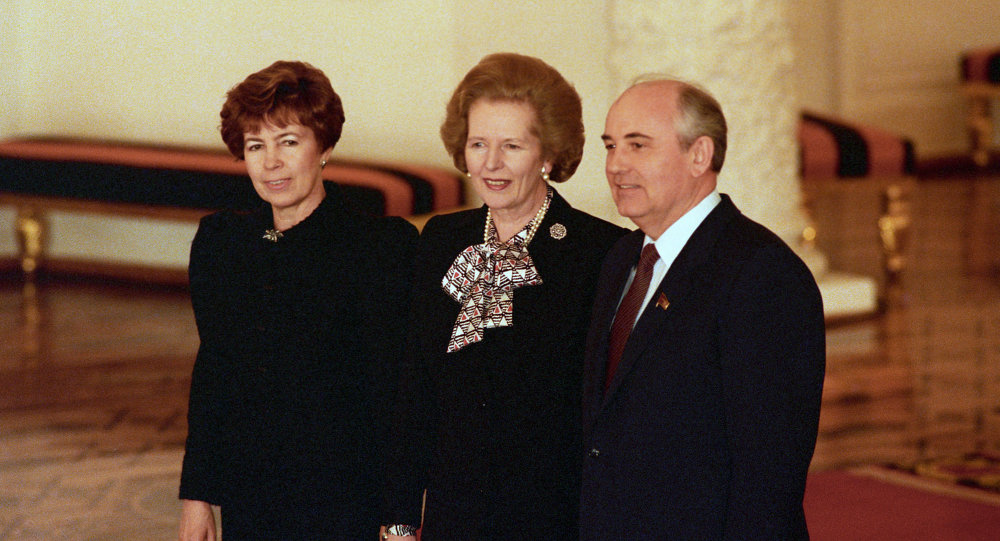 Mikhail Gorbachev, Margaret Thatcher and Raisa Gorbacheva