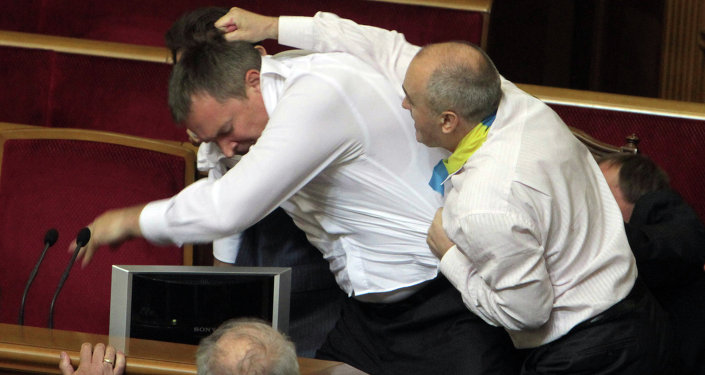 Fight in Verkhovna Rada in Kiev