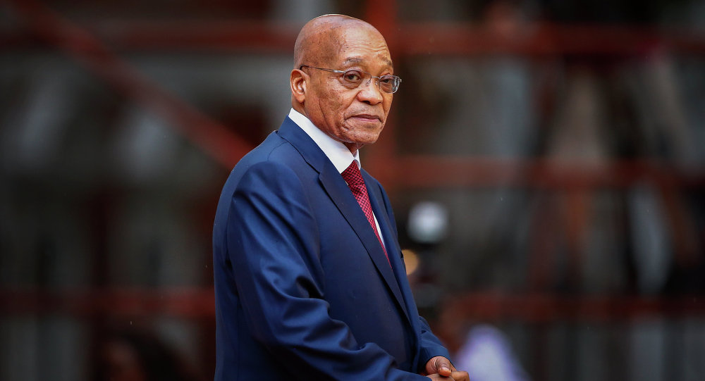 South African president, Jacob Zuma, arrives for the formal opening of parliament in Cape Town on February 12, 2015