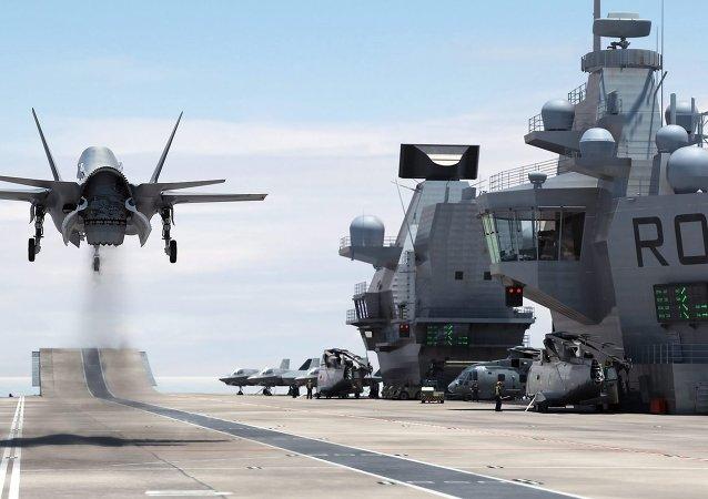 A F-35 Lightning II Landing on HMS Queen Elizabeth