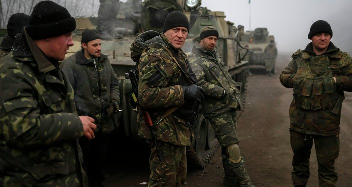 Members of the Ukrainian armed forces are seen not far from Debaltseve, eastern Ukraine February 15, 2015