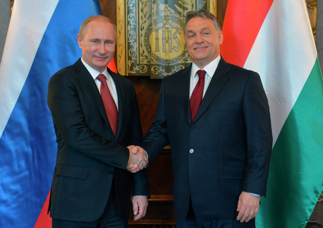 Russian President Vladimir Putin, left, and Hungarian Prime Minister Viktor Orban shake hands during their meeting at the parliament building in Budapest
