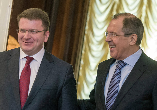 Foreign Minister Sergey Lavrov, right, and Foreign Minister of South Ossetia David Sanakoyev