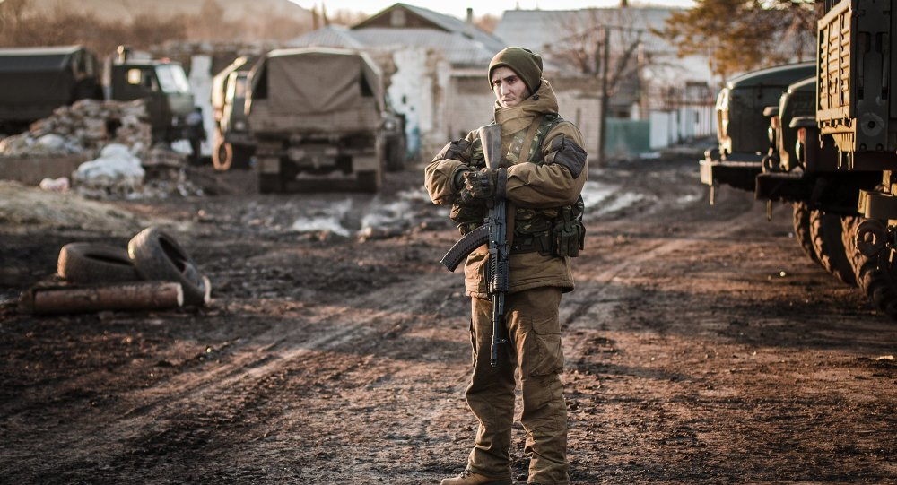 A DPR militiaman on the outskirts of Debaltseve, Donetsk Region