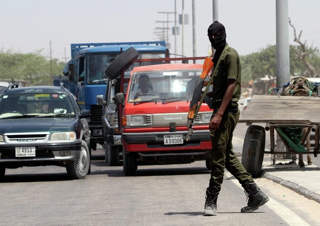 A member of Somali security forces patrols the streets in the capital Mogadishu