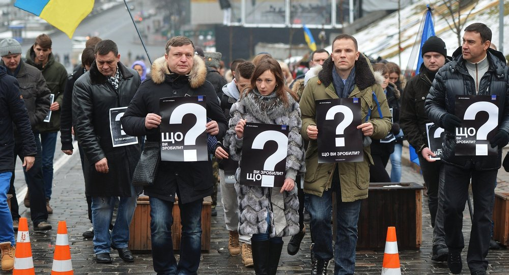 Participants of the rally A Year After. What Have Authorities Done? marking the anniversary of the events on Kiev's Independence Square remembered the victims. File photo.
