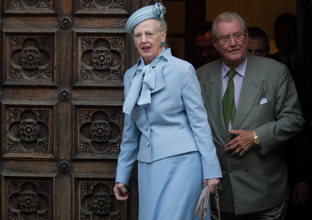 Danish royals Queen Margrethe II, left, and Prince Henrik leave after visiting St. Mark church in Zagreb, Croatia, Tuesday, Oct. 21, 2014