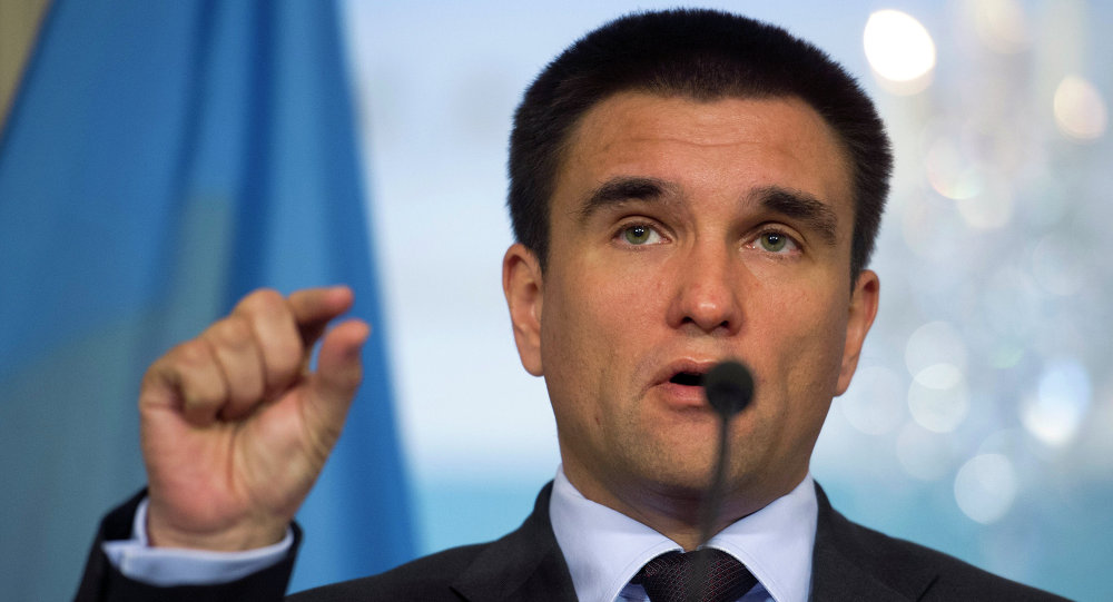 Ukrainian Foreign Minister Pavlo Klimkin speaks to reporters at the State Department in Washington