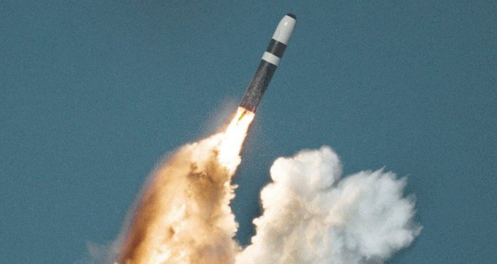 Underwater launch of a Trident ballistic missile from a submarine