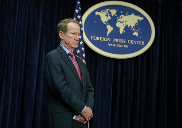 US Assistant Secretary of State for International Narcotics and Law Enforcement Affairs, William Brownfield listens during a briefing at the Foreign Press Center February 24, 2015 in Washington, DC