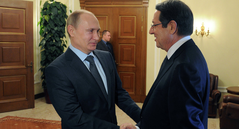 February 25, 2015. Russian President Vladimir Putin, left, and President of Cyprus Nicos Anastasiades meet in Novo-Ogaryovo