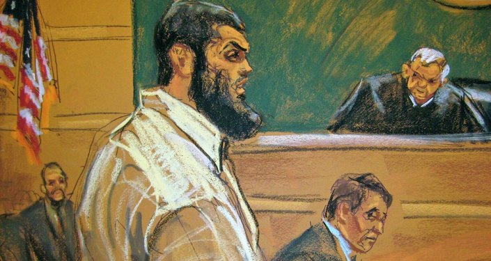 Abid Naseer, 28, makes opening statements to U.S. District Judge Raymond Dearie (R) on the first day of his trial as seen in a courtroom sketch in Brooklyn, New York February 17, 2015
