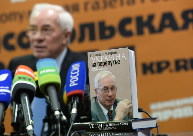 Ukraine's former prime minister Mykola Azarov at a Moscow news conference on his book Ukraine at the Crossroads.