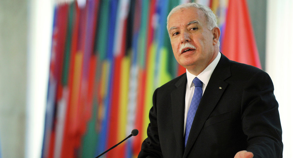 Palestinian Foreign Minister Riyad al-Maliki answers journalists questions during a joint news conference with his Bulgarian counterpart in Sofia