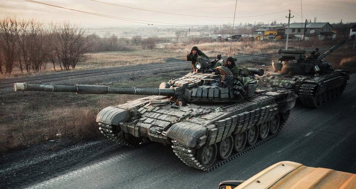 DPR self-defense fighters in Donetsk region