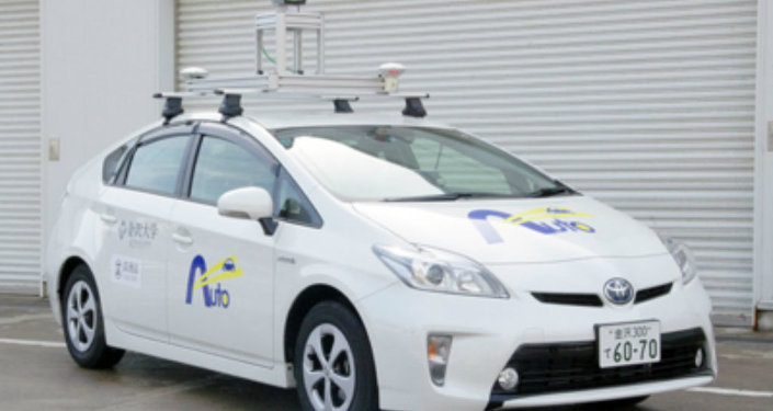 The driverless car developed by Kanazawa University. It will be road tested from March 1 to 2020