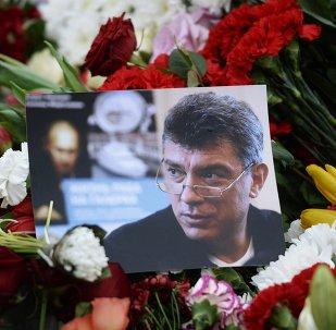 Flowers on murder scene of politician Boris Nemtsov