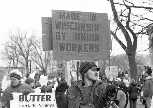 Labor rally in Madison, WI, in 2011