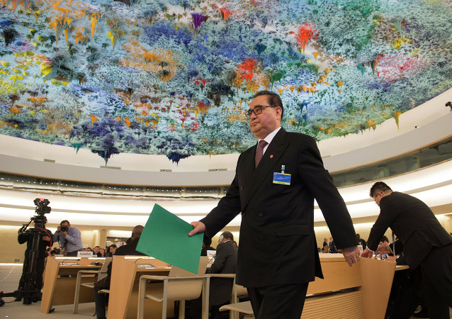 North Korean Foreign Minister Ri Su Yong arrives on March 3, 2015 to address delegates at the 28th Human Rights Council at United Nations headquarters in Geneva