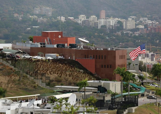 A view shows the U.S. embassy building in Caracas March 4, 2015