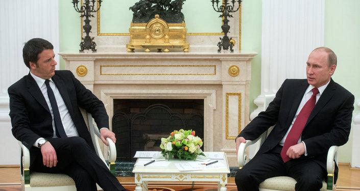 President Putin meets with Italian Prime Minister Renzi.