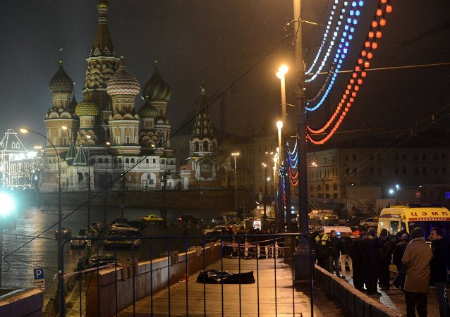 A murder scene of politician Boris Nemtsov, who was shot dead on Moskvoretsky bridge