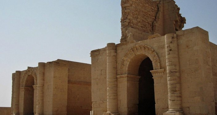 FILE - In this file photo taken July 27, 2005, two temples stand over 1,750 years after the Sassanian empire razed the Mesopotamian city of Hatra, 320 kilometers (200 miles) north of Baghdad, Iraq. Islamic State militants control the 2,300-year-old city of Hatra, a well preserved complex of temples south of Mosul and a UNESCO World Heritage site.