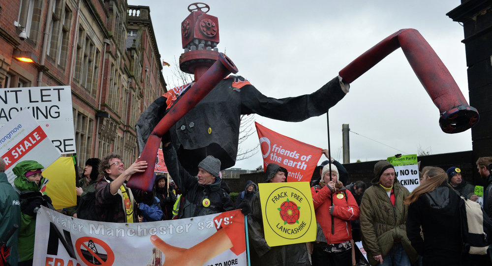 Mr Frackhead a giant puppet representing the global fracking industry, is seen at an anti-fracking protest in Preston, north west England, on January 28, 2015