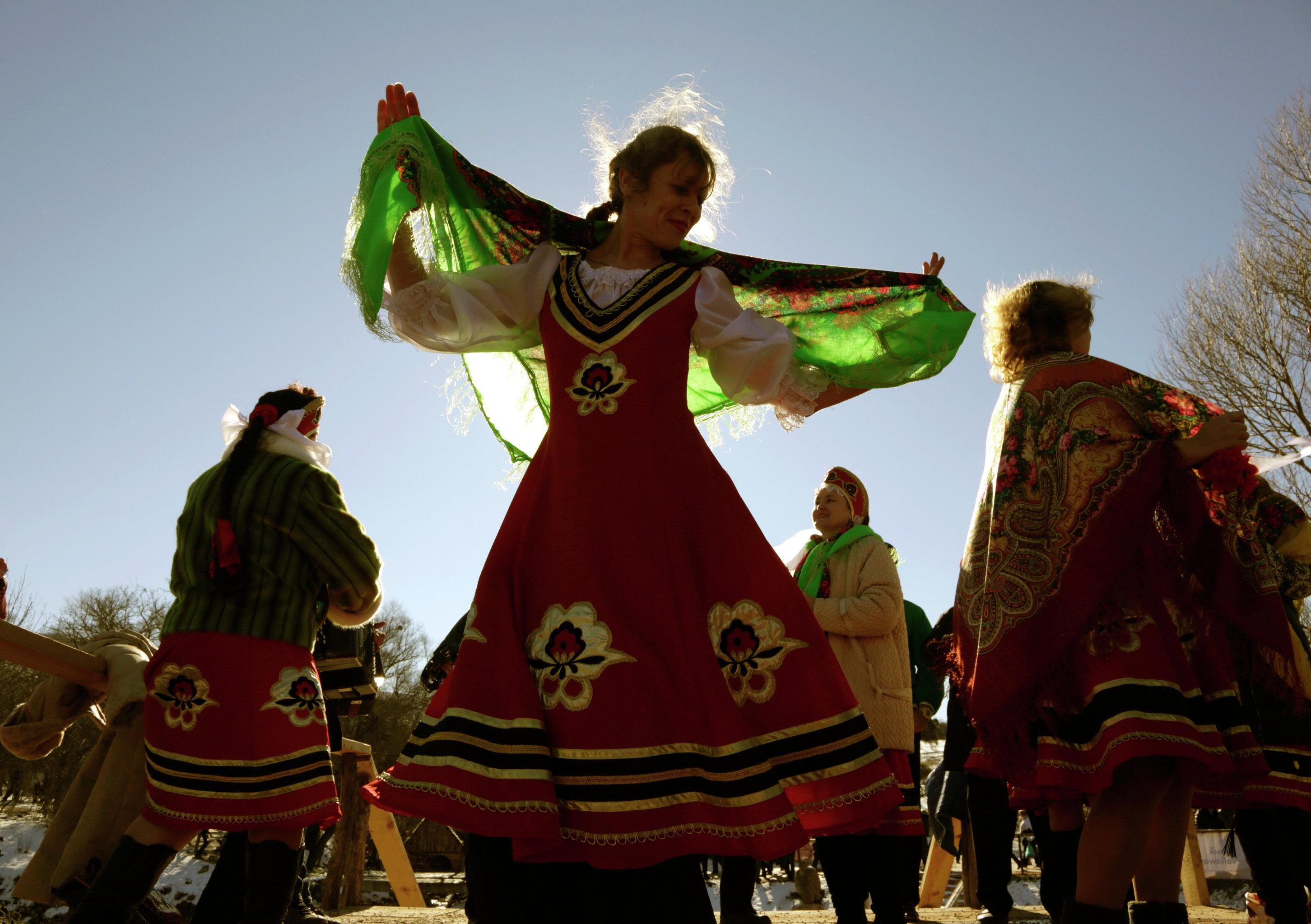 Women celebrate Shrovetide near Simferopol, Crimea