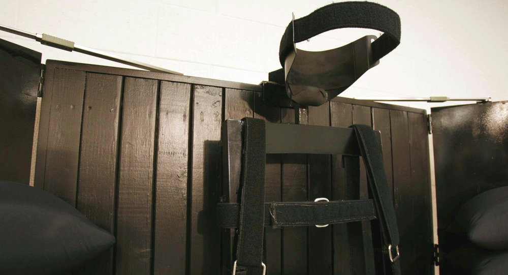 The execution chamber at the Utah State Prison after Ronnie Lee Gardner was executed by firing squad Friday