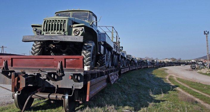 Military machinery prepared for shipment to Ukraine