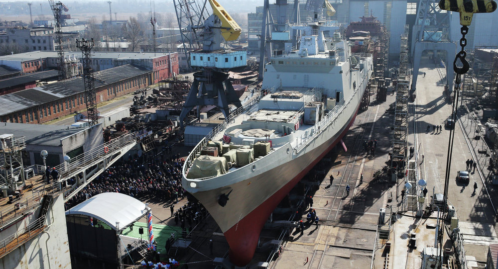 Launch of Admiral Grigorovich frigate into water